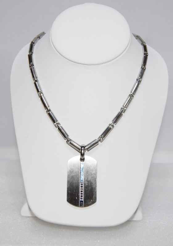 "36"" Stainless Silver Necklace w/ 7 Stone Dog Tag Pendant"