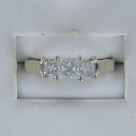 Lady's Gold-Diamond Anniversary Ring 3 Diamonds .98 Carat T.W. 14K White Gold