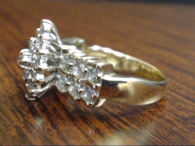 VINTAGE DIAMOND CLUSTER ENGAGEMENT WED RING SOLID 14K GOLD SIZE 8.25