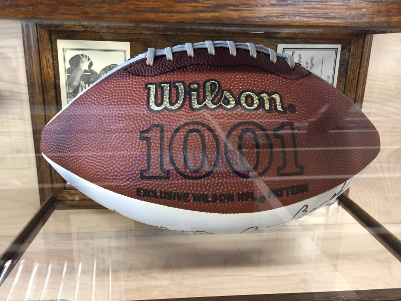 WILSON SIGNED FOOTBALL REDSKIN QUARTERBACKS BAUGH, THEISMAN, JURGENSEN, KILMER.