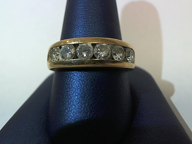 Gent's Gold-Diamond Wedding Band 6 Diamonds 1.32 Carat T.W. 14K Yellow Gold