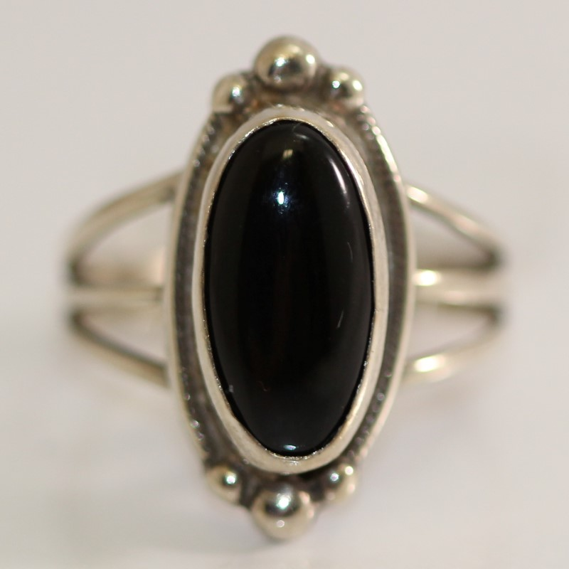 Oval Cut Onyx Sterling Silver Ring Size 6