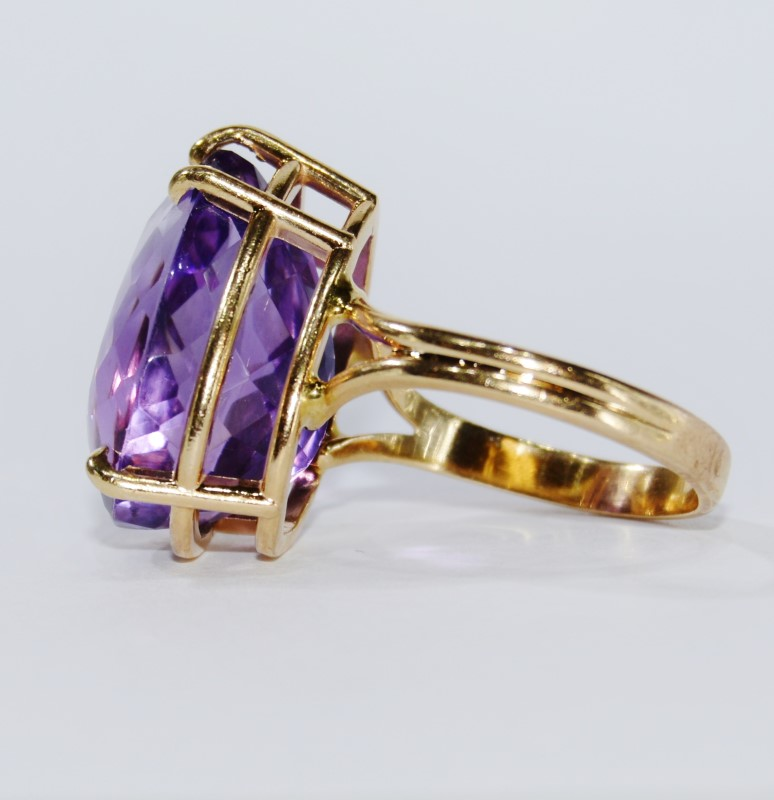 14K Yellow Gold Split Shank Large Pear Amethyst Statement Cocktail Ring Size 9.5
