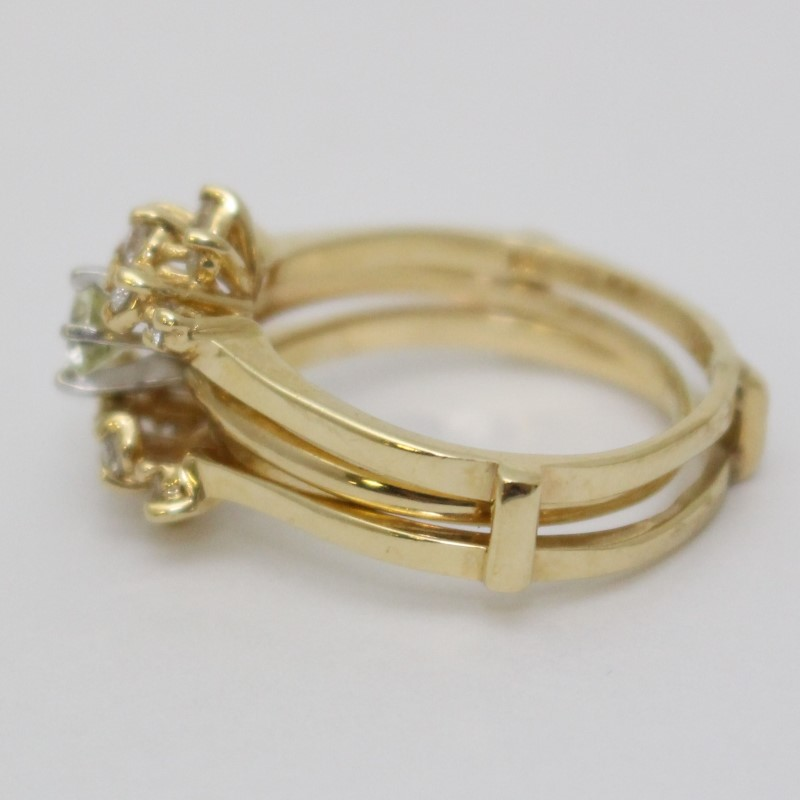 14K Yellow Gold Round Brilliant Sunburst Wedding Ring Guard Set sz 9.5