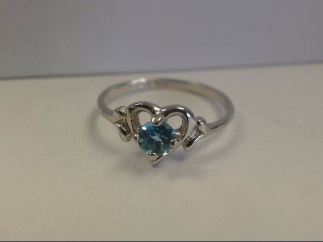 Blue Stone Lady's Silver & Stone Ring 925 Silver 1g Size:6