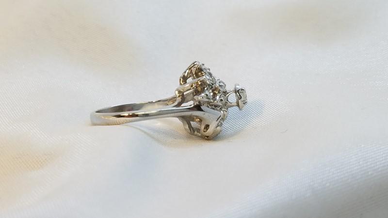 Lady's Diamond Cluster Ring 17 Diamonds .42 Carat T.W. 14K White Gold 5.1g