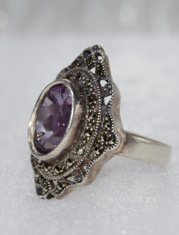 Amethyst & Marcasite Vintage Inspired Sterling Silver Shield Ring Size 10