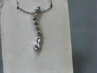 "18"" Diamond Necklace 9 Diamonds .54 Carat T.W. 14K White Gold 1.3dwt"