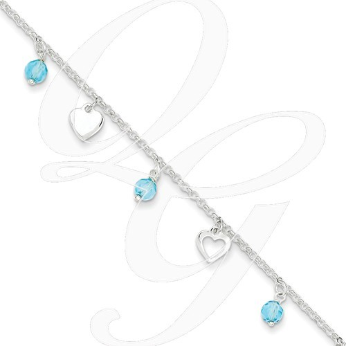 New Sterling Silver Heart/Blue Stone Anklet