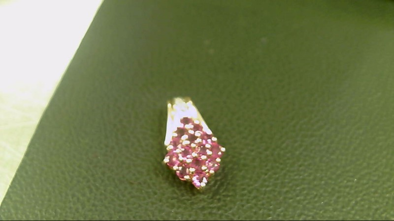 Synthetic Ruby Gold-Stone Pendant 14K Yellow Gold 1.7g