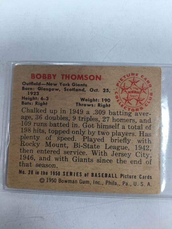 1950 BOWMAN BOBBY THOMSON BASEBALL CARD