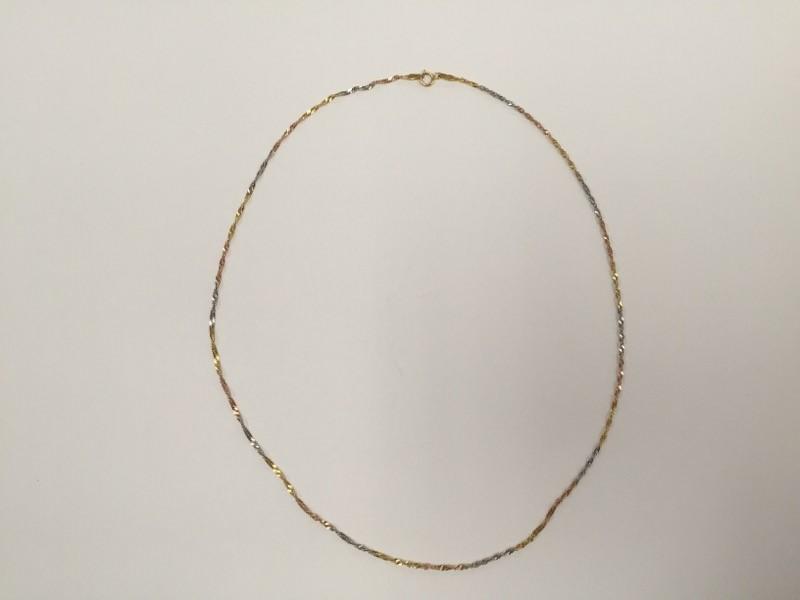 """18"""" Gold Fashion Chain 14K Tri-color Gold 1.7g"""
