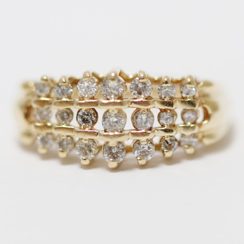 14K Yellow Gold Bead Set Round Brilliant Diamond Cluster Ring Size 7