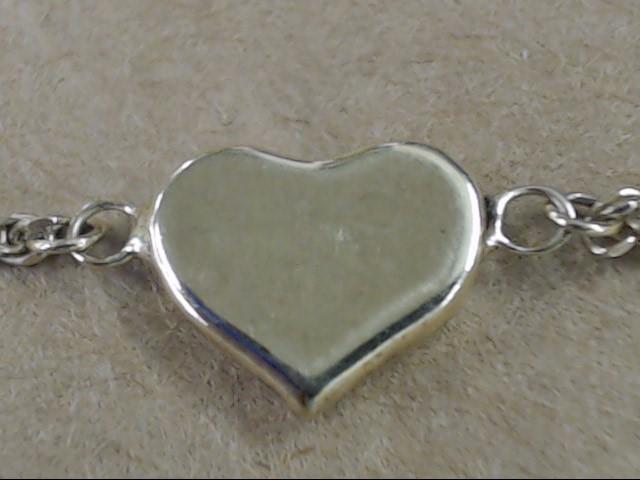 ESTATE HEART STATION CHARM BRACELET REAL 10K YELLOW GOLD 2.1g LOVE