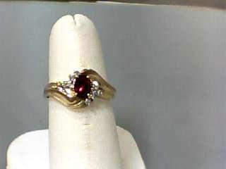 Synthetic Ruby Lady's Stone & Diamond Ring 8 Diamonds .08 Carat T.W.