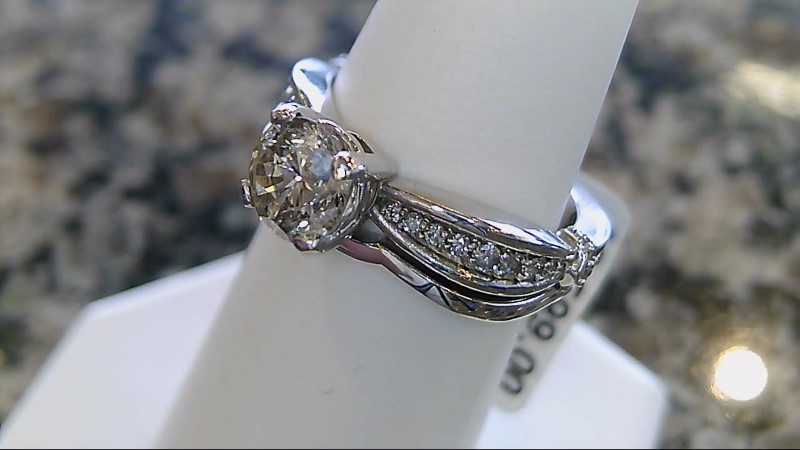 Lady's Diamond Wedding Set 29 Diamonds 1.38 Carat T.W. 14K White Gold 7.2g