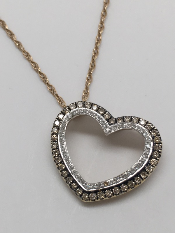 FASHION HEART CHOCOLATE DIAMOND PENDANT 10K GOLD