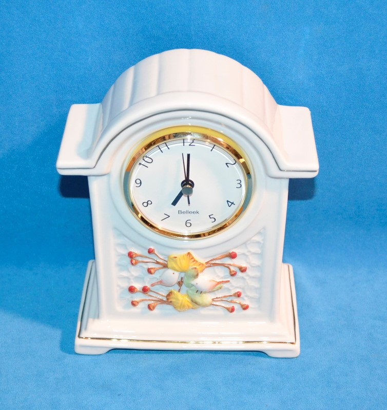 BELLEEK CERAMIC MANTEL CLOCK