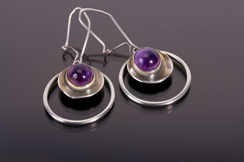 Amethyst Silver-Stone Earrings 925 Silver 7.9g