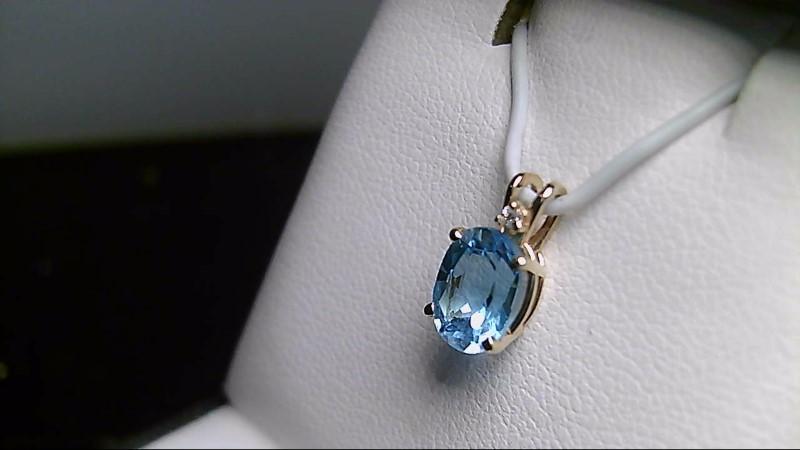 Sky Blue Topaz Gold-Diamond & Stone Pendant .01 CT. 14K Yellow Gold 0.76g
