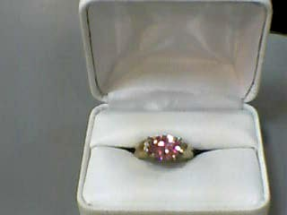 Synthetic Cubic Zirconia Lady's Stone & Diamond Ring 8 Diamonds .08 Carat T.W.