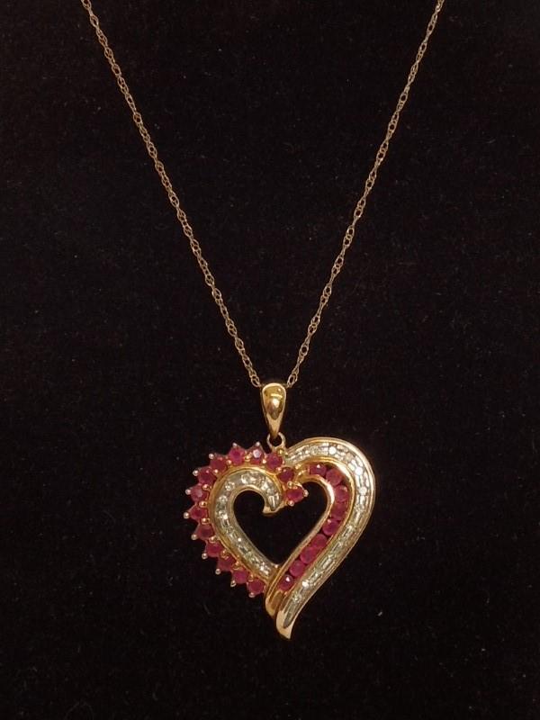 "18"" Synthetic Red Bixbite Beryl Diamond & Stone Necklace"