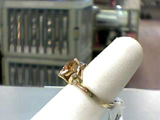 Synthetic Citrine Lady's Stone Ring 10K Yellow Gold 1.4dwt Size:7