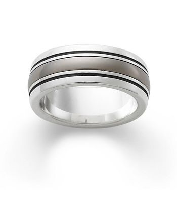 Classic Smooth Wedding Band  with Titanium Center by James Avery