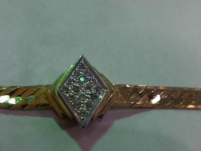 Gold-Diamond Bracelet 16 Diamonds .32 Carat T.W. 14K Yellow Gold 11g