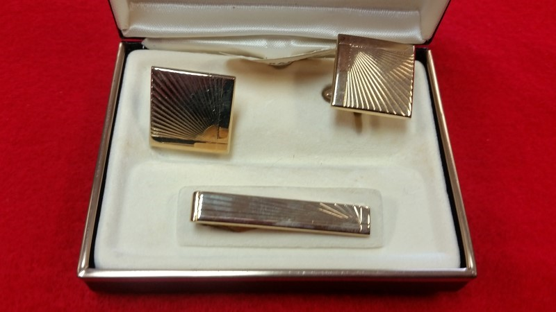 Swank Gold-Plated Cuff Links & Tie Clip