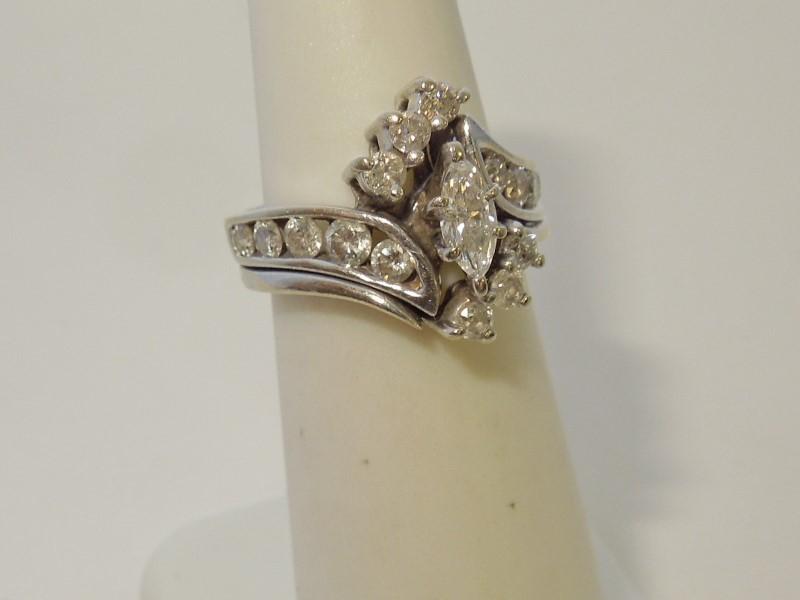 Lady's Diamond Wedding Set 17 Diamonds .73 Carat T.W. 14K White Gold 5.7g