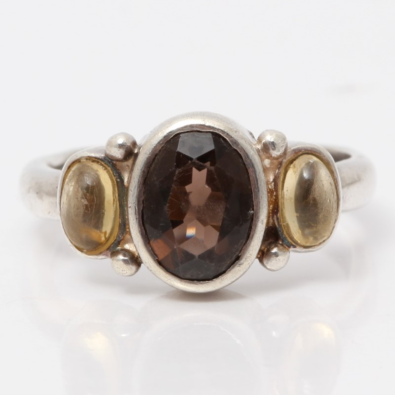 Sterling Silver Oval Purle Stone Ring w/ Yellow Stone Accents Size 5