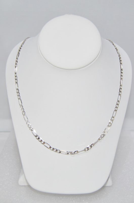 """10K White Gold 21"""" Figaro Link Chain Neclace w/ Lobster Clasp"""