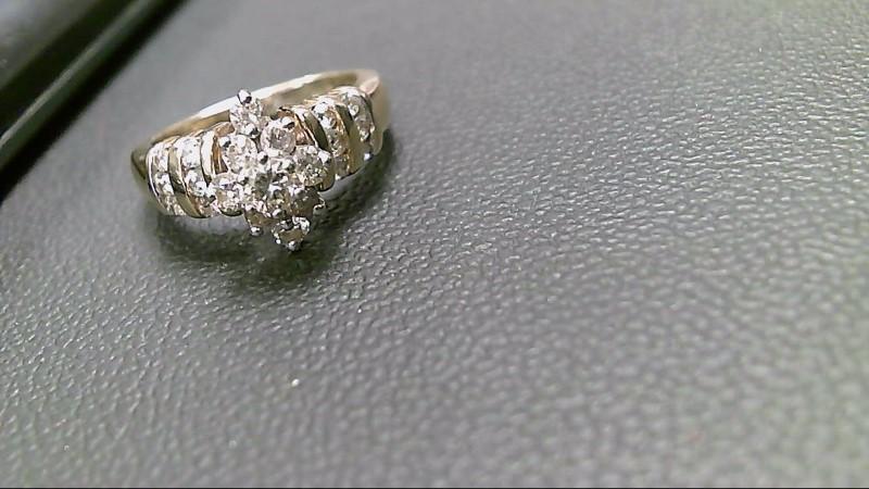 Lady's Diamond Cluster Ring 21 Diamonds 1.00 Carat T.W. 14K Yellow Gold 6g