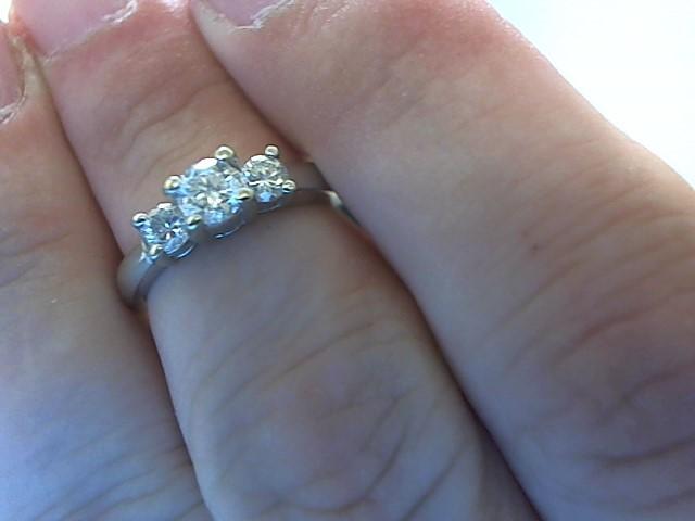 Lady's Gold-Diamond Anniversary Ring 3 Diamonds .55 Carat T.W. 14K White Gold