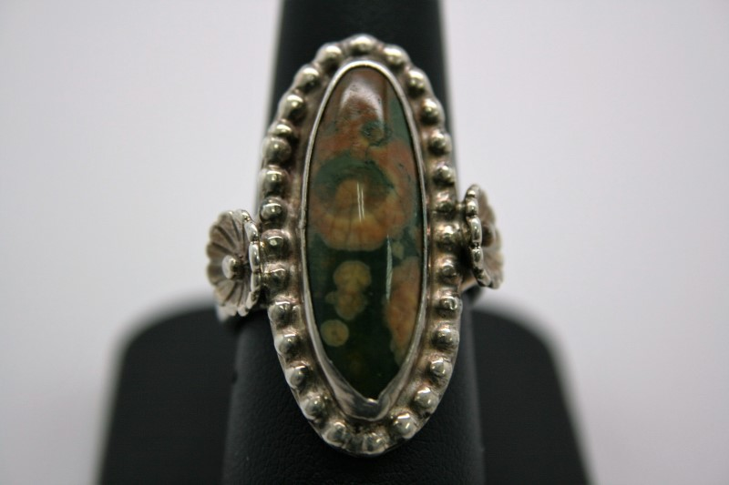 MOSS AGATE SILVER RING 7