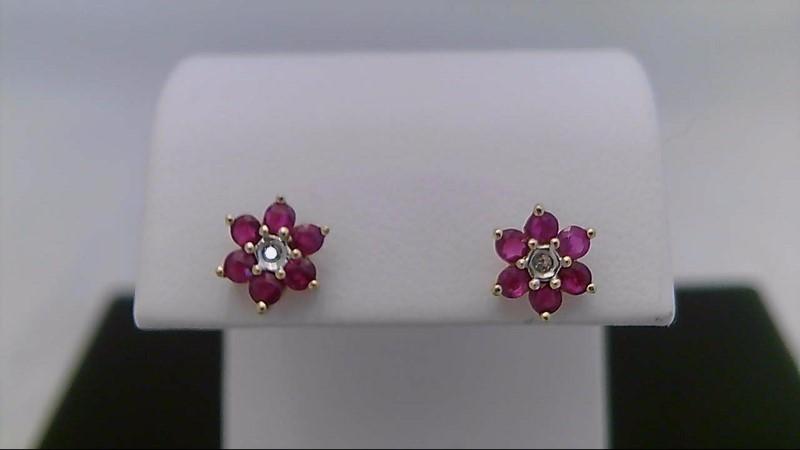 10k yellow gold ruby flower earrings.