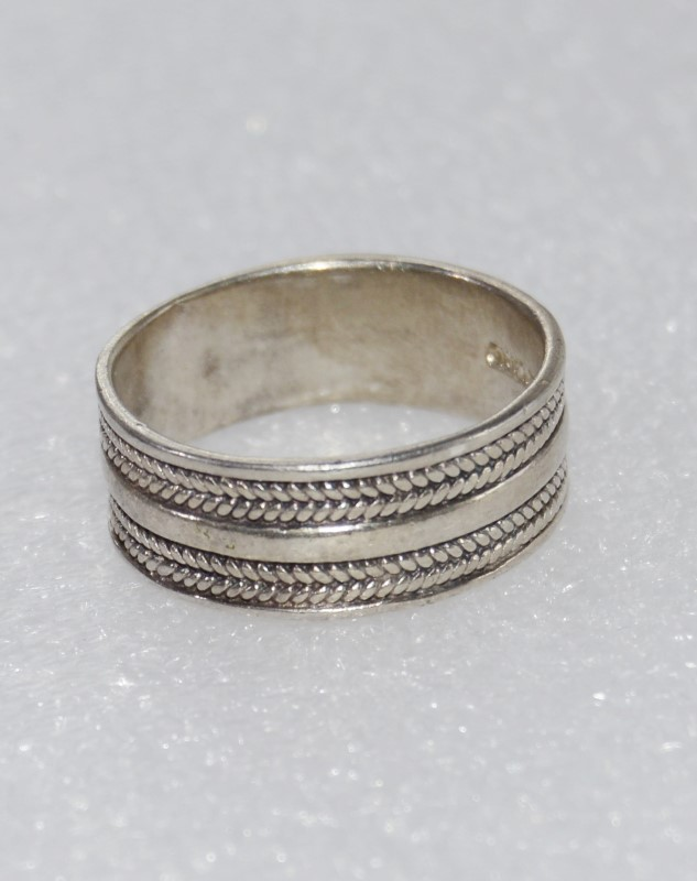 Wide Set Sterling Silver Double Rope Design Band Ring size 10