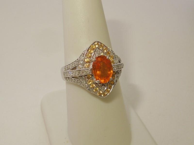 Orange Stone Lady's Stone & Diamond Ring 58 Diamonds .58 Carat T.W.