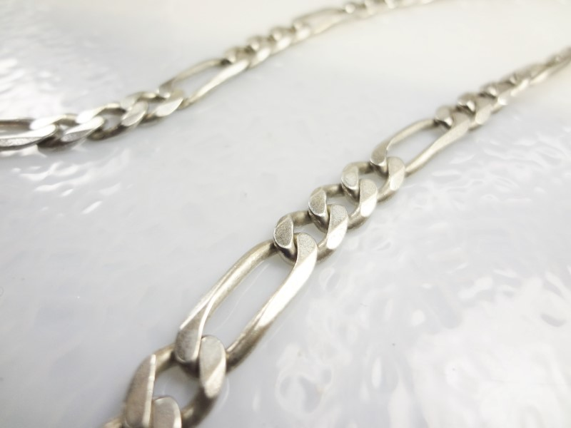 "24"" STERLING SILVER 6.7MM FIGARO CHAIN S925 38.7G"