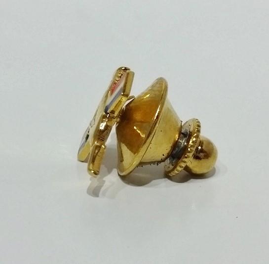10K Yellow Gold Filled & Enamel Ford Mustang Logo / Emblem Lapel Pin / Tie Tack