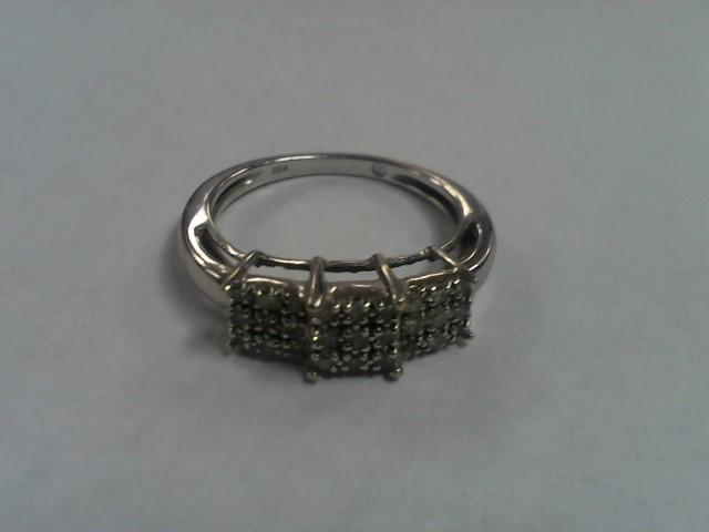 Lady's Diamond Cluster Ring 27 Diamonds .81 Carat T.W. 10K White Gold 2.9g