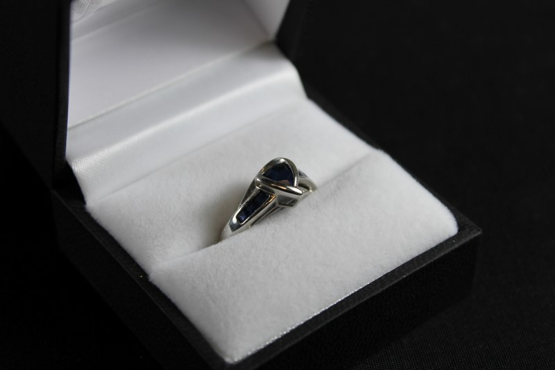 September Birthstone Sapphire and Diamond 10K White Gold Ring