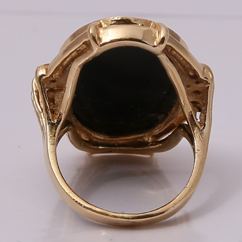 14K Yellow Gold Cabochon Cut Onyx with Diamond Accent Ring Size 5-6*