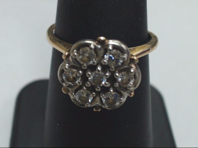 Lady's Diamond Cluster Ring 7 Diamonds .42 Carat T.W. 10K Yellow Gold 3.3g
