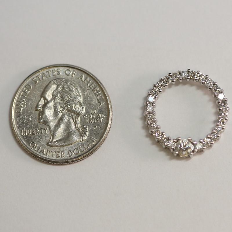 Round 14K White Gold Multi Bead Set Round Billiant Diamond Pendant