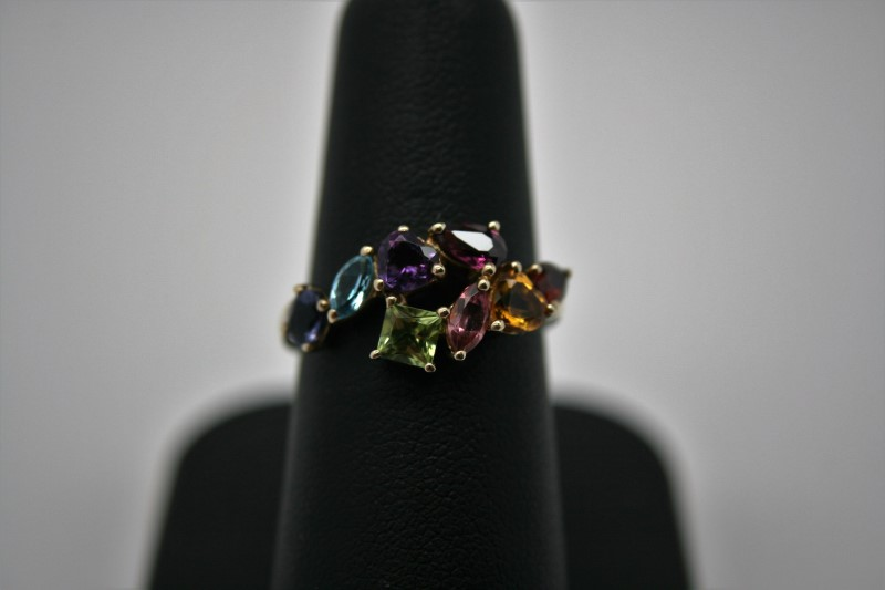 LADY'S MULTI COLOR GEMSTONE RING 9K YELLOW GOLD