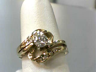 Lady's Diamond Wedding Set 9 Diamonds .37 Carat T.W. 14K Yellow Gold 2.7dwt