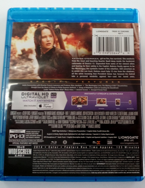 BLU-RAY MOVIE THE HUNGER GAMES: MOCKINGJAY PART I