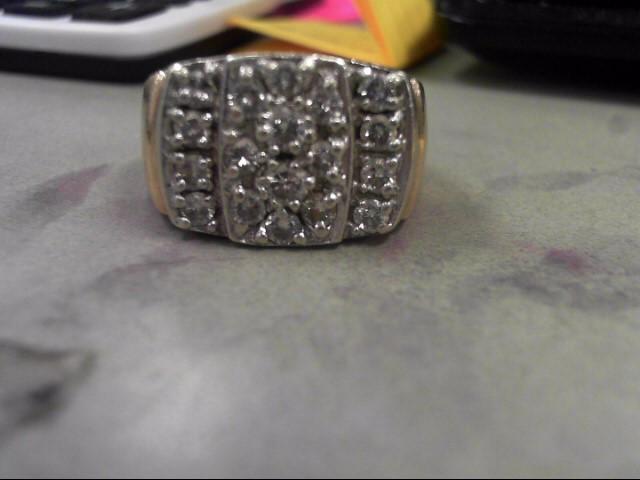 Gent's Diamond Cluster Ring 18 Diamonds 1.02 Carat T.W. 10K Yellow Gold 19.39g